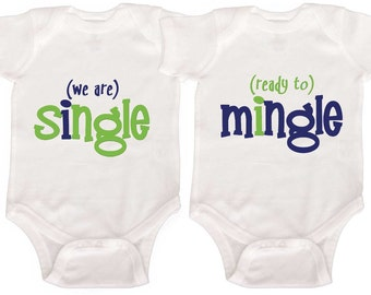 Funny Twin Baby Boy Bodysuits by Mumsy Goose  Boy Twin Creepers Boy Bodysuits