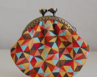 Multicolor Triangles Coin Purse Change Pouch with Metal Kiss Lock Clasp Frame - READY TO SHIP