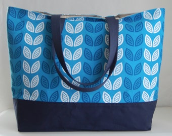 Blue Leaflet XL Extra Large Beach Bag / BIG Tote Bag - Ready to Ship