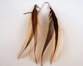 natural Brown  cruelty free feather earrings