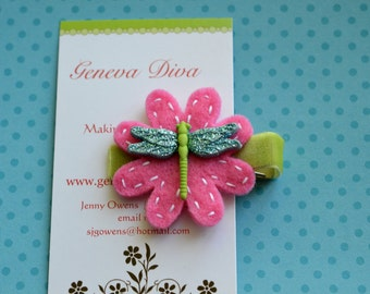 Glittery Turquoise and Hot Pink Hand-stitched Felt Flower Clip
