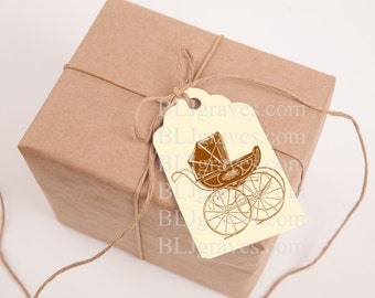 Tags Baby Shower Gift Tags Vintage Style Pram Wish Tree Tag Party Favor Treat Bag Tag TB011