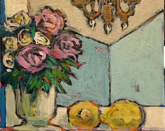 "Flowers and Lemons- Original Acrylic Oil Encaustic Still Life Painting- 10""x 10"""