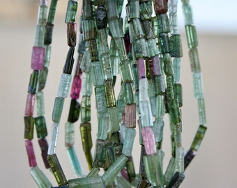 """FUN... Gem Green Pink Tourmaline Naturally Faceted Rough Free Form Stick Crystal Point Pipe Tube Nugget beads 8"""" strand"""