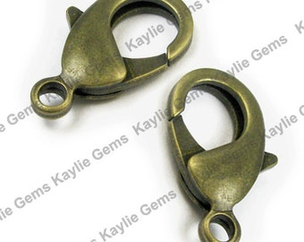 Large Brass Lobster Clasps 15x8mm Antique Brass - Strong - 10pcs