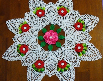 Roses and Pineapples Doily - ready to ship - crocheted
