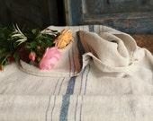 Nr. A379 b: grainsack,  antique linen; STEEL BLUE; pillow benchcushion;48.82 long;  wedding decoration; christmas, thanksgiving