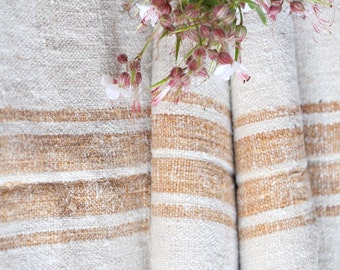 p 32  antique handloomed CARAMELL wedding decor, holiday feeling 3.279yards , french lin, cushion, pillow, tablerunner