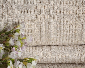 RW455 antique hemp french 천 PALE upholstery 6.77 yards TOWEL laundered handloomed STAIRUNNER  benchcushion Beachhouse look