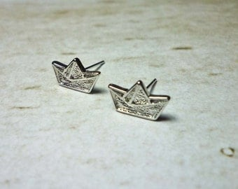 SALE - Origami Boat Stud Earrings
