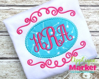 Machine Embroidery Design Applique Swirl Beaded Frame INSTANT DOWNLOAD