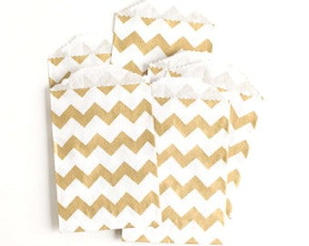 "25 Small Flat Metallic Gold Chevron Favor Bags . 2.75"" x 4"""