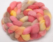 Exmoor Blueface British wool hand painted combed top  roving fibre 100g Freesia