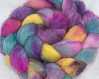 Merino Tussah silk  Handpainted 100g top roving spinning fibre fiber - Random Kindness