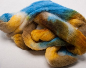 Cheviot 100g hand painted British wool tops roving fibre fiber Rockpool