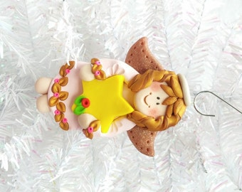 Handmade Angel Ornament - Polymer Clay Angel Christmas Ornament - Package Topper - Angel Collector Ornament - Angel Collector Gift - 8101