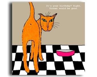 Humorous birthday card 'Dinner'