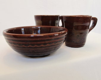 Marcrest Daisy Dot Bowl and Two Mugs Small Cereal Soup Bowl Chocolate Brown Gingerbread Design Vintage Pottery Mid Century Dishes