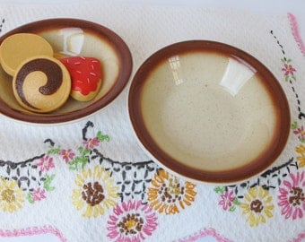 2 Small Brown Edge Restaurant Ware Bowls Buffalo China Speckled Tan Sauce Condiment Ingredient Dishes Cafe Diner Caramel Color