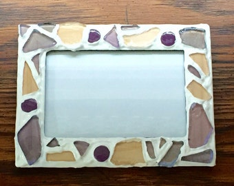 Purple and White Glass Mosaic Picture Frame (holds a 4 x 6 photograph)