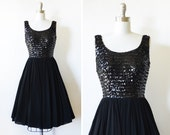 black sequin dress, vintage 60s sequin and chiffon dress, small 1960s party dress