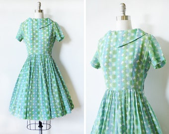 50s dress, 1950s vintage blue and green dress, atomic mid century day dress