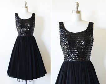 black sequin dress, vintage 60s party dress, 1960a chiffon sequin dress, black cocktail dress, s