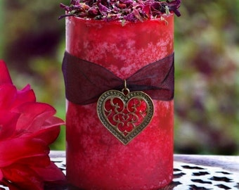 """WITCH'S HEART """"Old European Witchcraft""""™ Passionate Scarlet Red Pillar Candle with Filigree Bronze Heart Charm"""