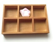 rubber stamp storage tray | wooden desk organizer | wooden gift box | gift wrapping | office stationery organization | 6 small slots | brown
