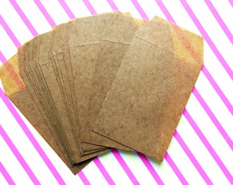 waxed flat envelopes | brown waxed paper gift bags | diy birthday wedding | diy snail mails | holiday gift wrapping | 12cmX17cm | set of 10