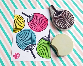 paper fan rubber stamps. japanese hand carved rubber stamp. festival stamp. birthday wedding new year scrapbooking. set of 2. large fan