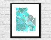 Palo Alto California Art Map Print.  Choose your color and size.  Map of Palo Alto, CA in the heart of Silicon Valley.