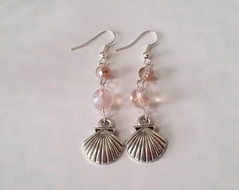 Boho Sunshine Shell Charm Earrings Hypo-Allergenic Ear Hooks with Sparkle Faceted Beads