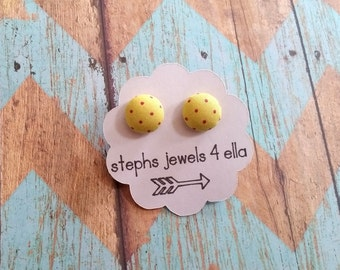 Yellow with Pretty Pink Polka Dots Fabric-Covered Button Earrings