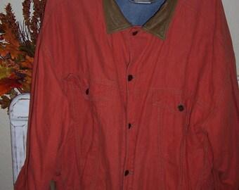 Western Orange Denim Ranch Work Jacket with Leather Collar size XX Large