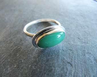 Petite Chrysoprase Ring in Sterling Silver