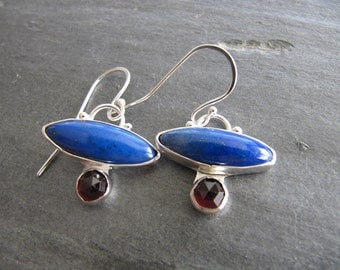Earrings of Lapis and Faceted Garnet in Sterling Silver
