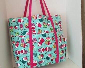 Large Beach Bag / Tote Bag  / Carry All / Gym Bag...Cupcakes Galore!