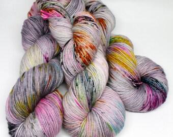 Hand Dyed Sock Yarn - SW Sock 80/20 - Superwash Merino Nylon - 400 yards - Distortion