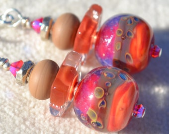 HEARTFELT-Handmade Lampwork and Sterling Silver Earrings