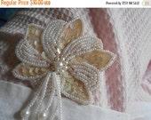 1 DAY SALE Pearly Beads Flower Dangle Brooch, Handmade Pin