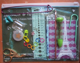 Fully Loaded Knitting Notions Pouch -- Impressions De Paris Clear Plastic Pouch -- blue