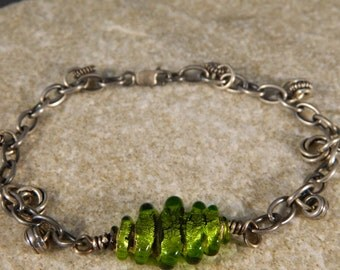 Lime Green Lampwork and Sterling Silver Bracelet