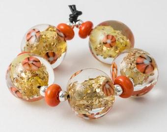 Orange and Gold Lampwork Beads