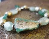 Ancient Roman Glass Bracelet, Green Kyanite Bracelet, Rustic Earthy Bracelet, Artisan Bracelet