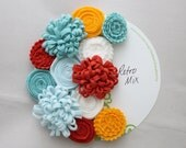 Blue, Coral and Yellow Felt Flowers, Retro Mix, Handmade Wool Felt Flowers for DIY Projects