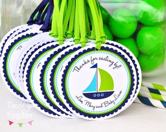 Sailboat Gift Tags, Personalized Nautical Favor Tags, Nautical Baby Shower, Nautical Birthday Party