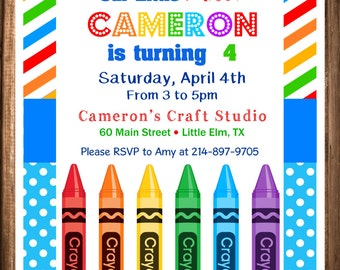 Crayon Birthday Invitation, Painting Party Birthday Invitation, PRINTABLE Paint Party Invites, Crayola Party