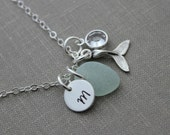 Sterling Silver Mermaid tail Necklace with Genuine Sea glass, crystal birthstone and Initial charm disc, Beach Jewelry, Eco Friendly Fashion