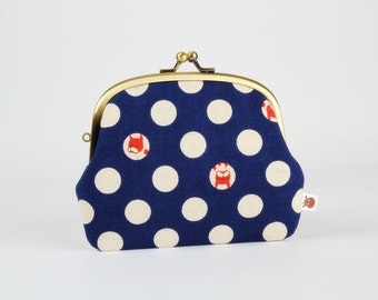 Metal frame purse with two sections - Tiny red dogs on white dots - Pop up / Kawaii japanese fabric / Navy blue / pink red denim blue